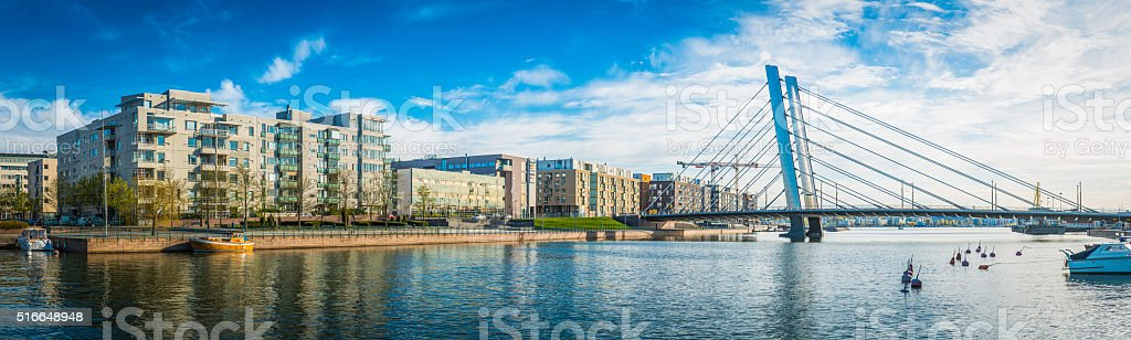 Modern waterfront apartment buildings overlooking urban harbour panorama Helsinki Finland stock photo
