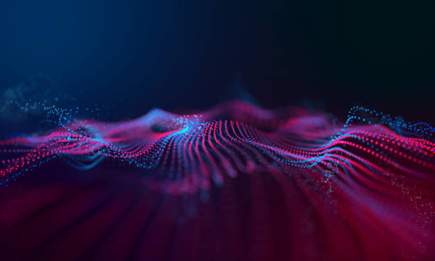 modern wave effect 3d red background - striato foto e immagini stock
