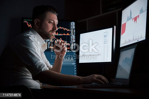 Modern way to earn some good cash. Bearded man in white shirt works in the office with multiple computer screens in index charts.