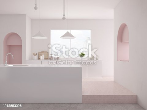istock Modern white and pink kitchen interior with bar counter,lamp.Countertop with sink,set of kitchen equipment.3d rendering 1215853028