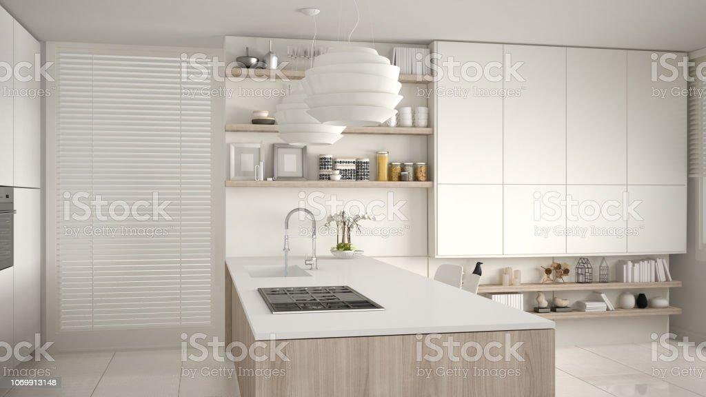 Moderne Weiß Und Holz Küche Mit Regale Und Schränke Insel