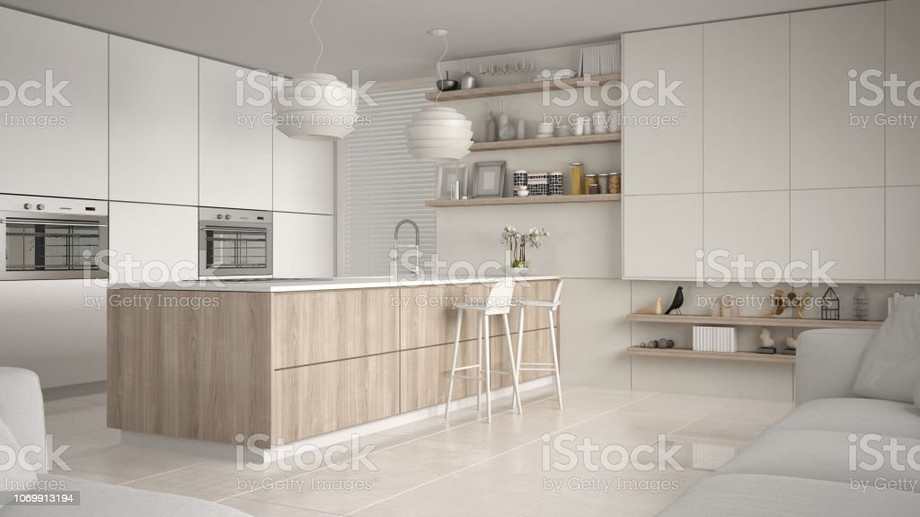 Modern White And Wooden Kitchen With Shelves And Cabinets