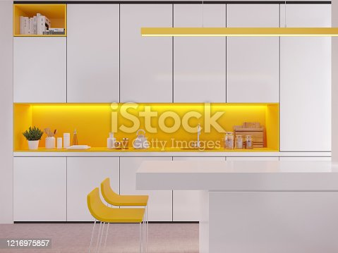 istock Modern white and yellow kitchen interior with bar counter,lamp and chairs.Countertop with sink,set of kitchen equipment. 1216975857
