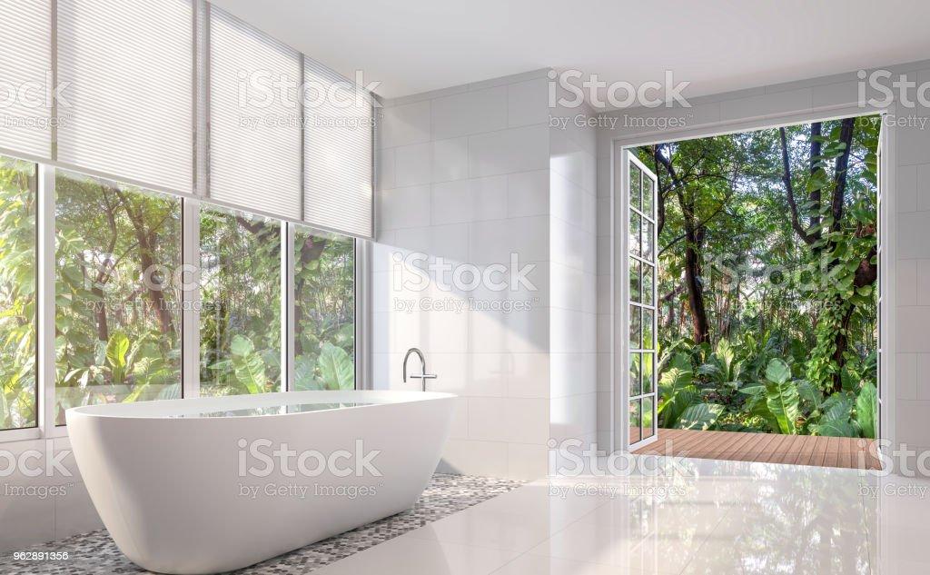 Modern white bath room 3d render stock photo