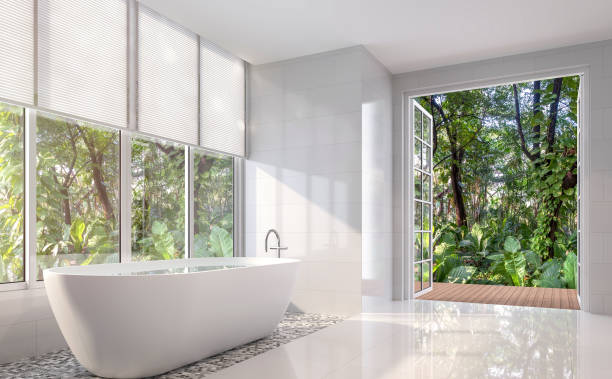 modern white bath room 3d render - blinds stock pictures, royalty-free photos & images