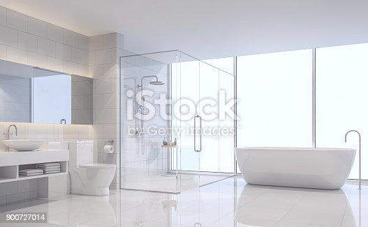 istock Modern white bathroom 3d rendering image 900727014