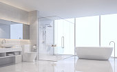Modern white bathroom 3d rendering image