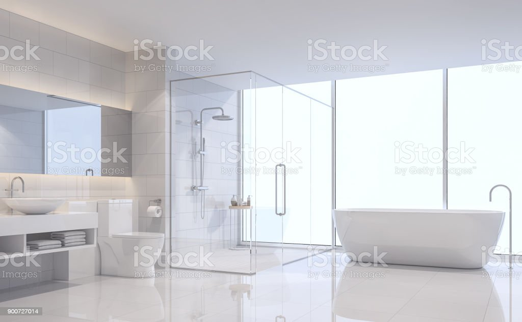 Modern white bathroom 3d rendering image stock photo