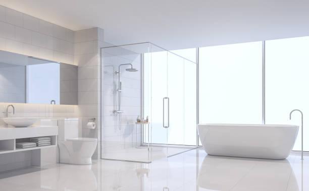Imagem de renderização 3d moderna casa de banho branco - foto de acervo
