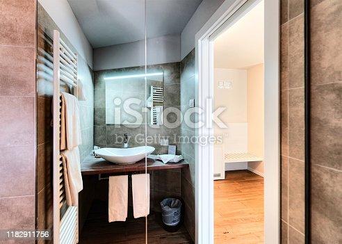 800987054istockphoto Modern white Bathroom design at luxury interior Italy 1182911756