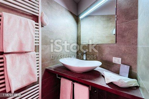 819534860istockphoto Modern white Bathroom design in luxury interior Italy 1182911810