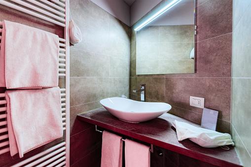 800987054 istock photo Modern white Bathroom design in luxury interior Italy 1182911810