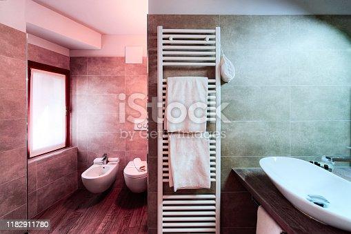 819534860istockphoto Modern white Bathroom design of luxury interior Italy 1182911780