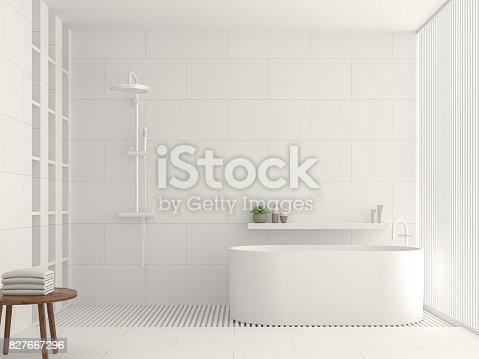 istock Modern white bathroom interior 3d rendering image 827667296