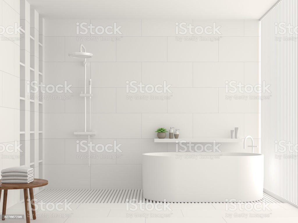 Modern white bathroom interior 3d rendering image stock photo