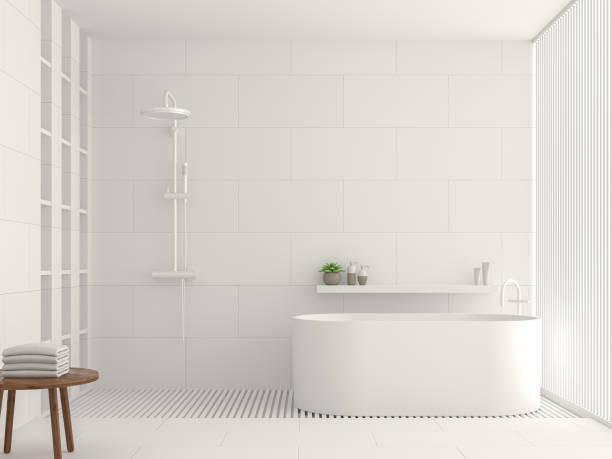 Imagem de renderização moderna casa de banho branco interior 3d - foto de acervo