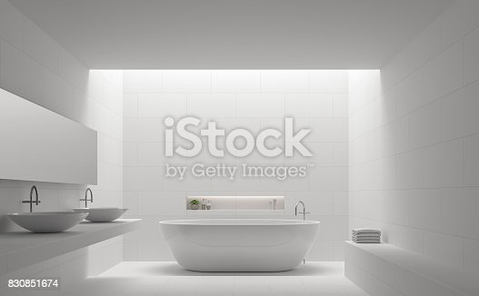istock Modern white bathroom interior minimal style 3d rendering image 830851674