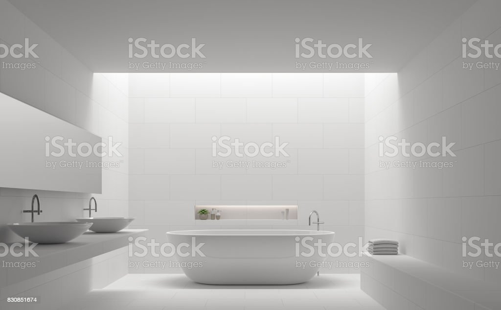 Modern white bathroom interior minimal style 3d rendering image stock photo