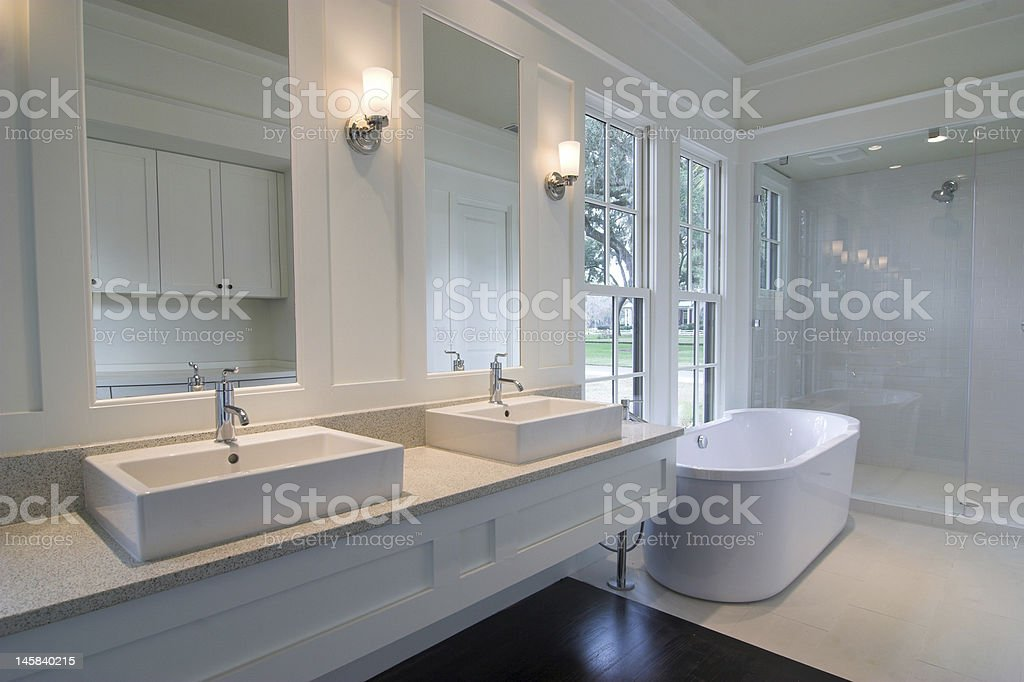 modern white bathroom stock photo