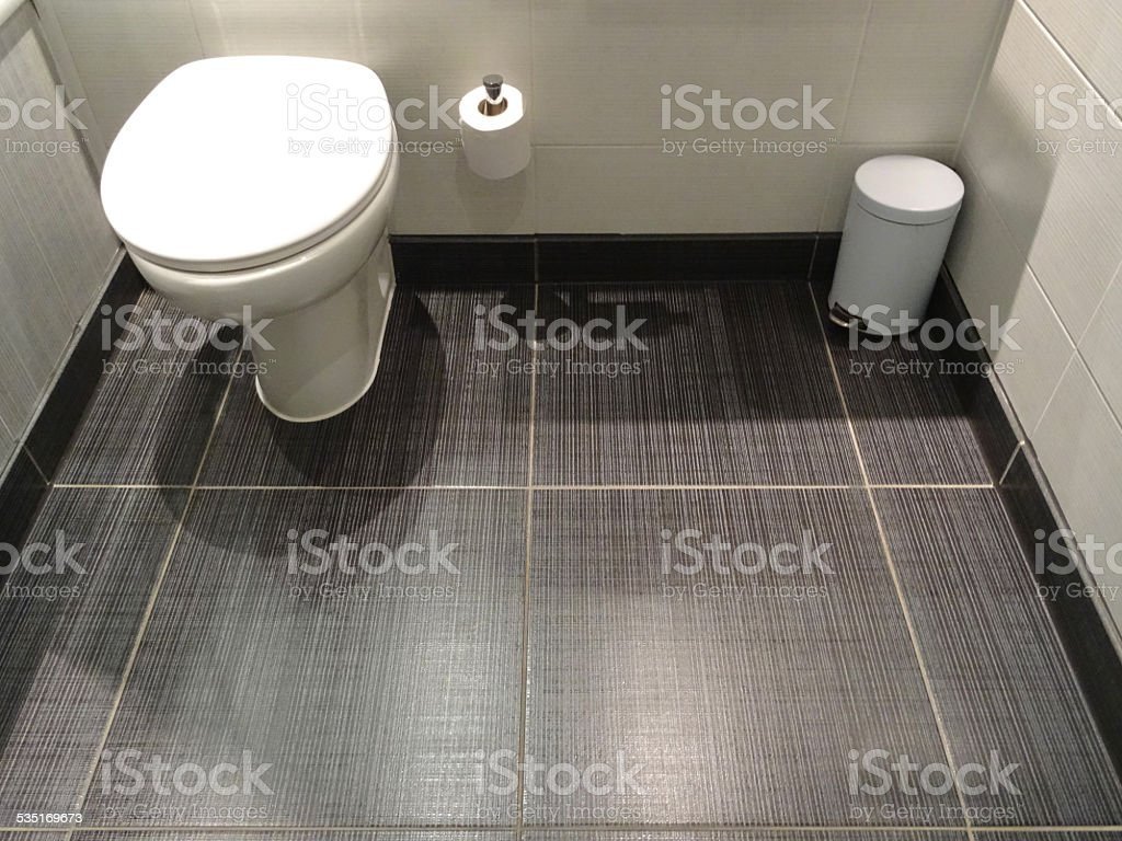 Modern white bathroom suite, low-level integrated WC toilet, grey floor-tiles stock photo