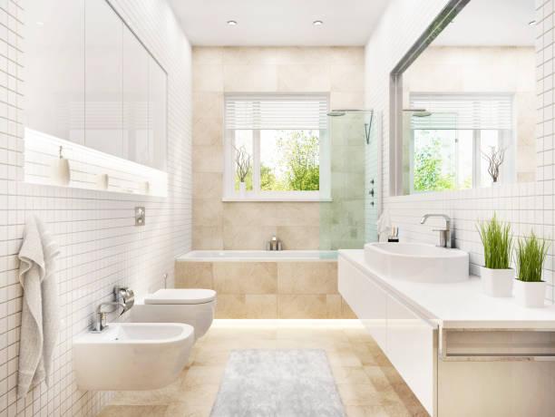 욕조와 창문이있는 현대적인 흰색 욕실 - 욕실 뉴스 사진 이미지
