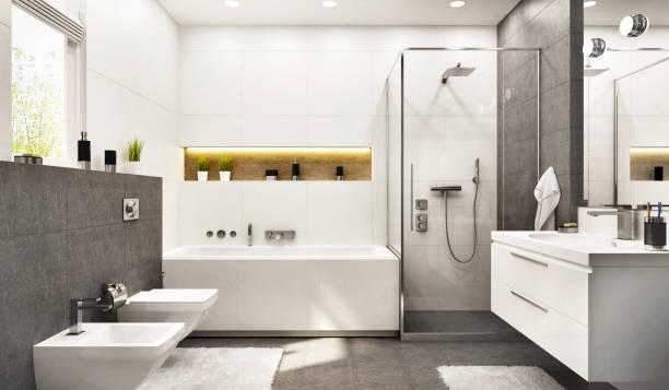 banheiro branco moderno com banho e janela - banheiro doméstico - fotografias e filmes do acervo
