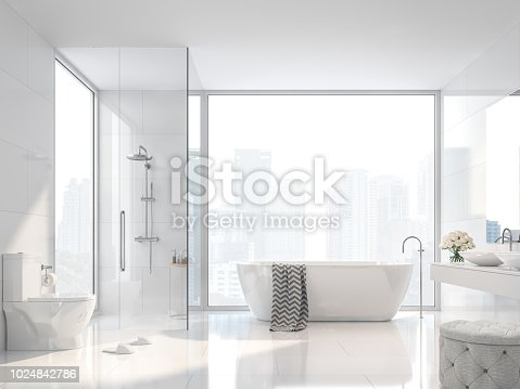 Modern white bathroom with city view 3d render. There are white tile wall and floor.The room has large windows.Sunlight shines into the room.