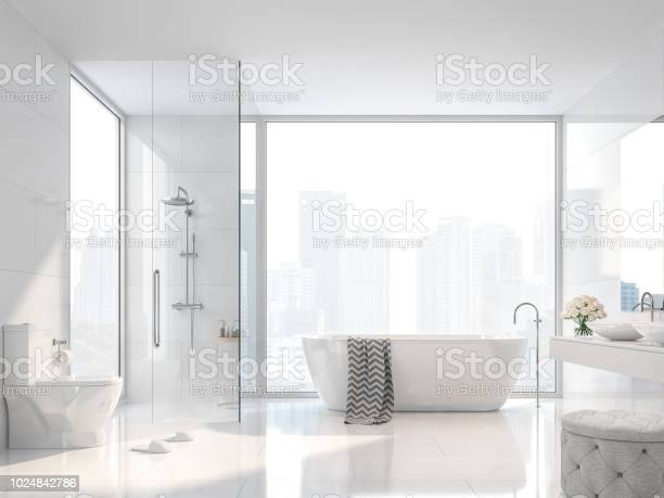 Modern white bathroom with city view 3d render picture id1024842786?b=1&k=6&m=1024842786&s=612x612&h=sl5tpxzymumaj jfh ge wmzwffwtuqvuigjuduiwr8=