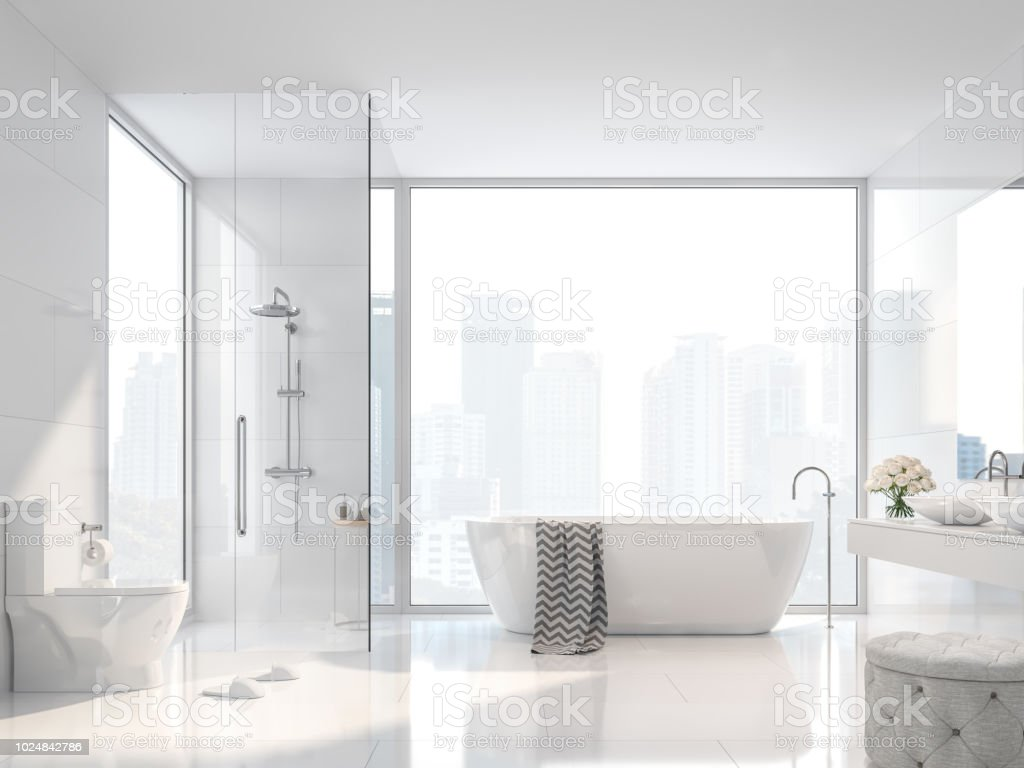 Modern white bathroom with city view 3d render stock photo