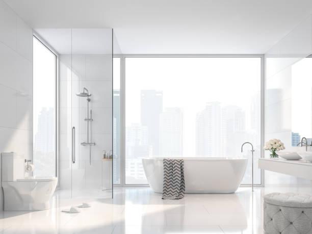 modernes weißes bad mit city view 3d render - dusche stock-fotos und bilder