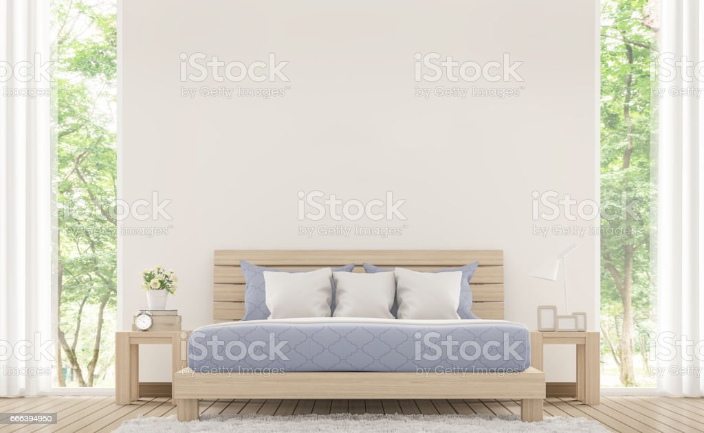 Modern white bed room with pastel furniture 3d rendering image stock photo