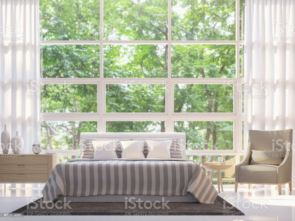 Modern white bedroom 3d rendering image stock photo