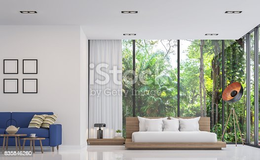 istock Modern white bedroom and living room with nature view 3d render image 835846260
