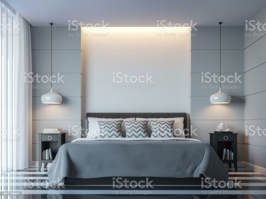 Modern white bedroom minimal style 3D rendering Image - Royalty-free Apartment Stock Photo