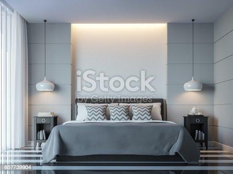 istock Modern white bedroom minimal style 3D rendering Image 657739904