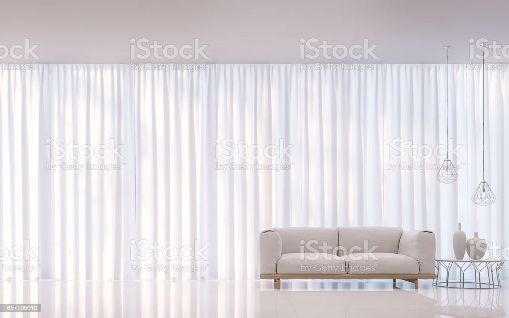 Modern white bedroom minimal style 3D rendering Image stock photo