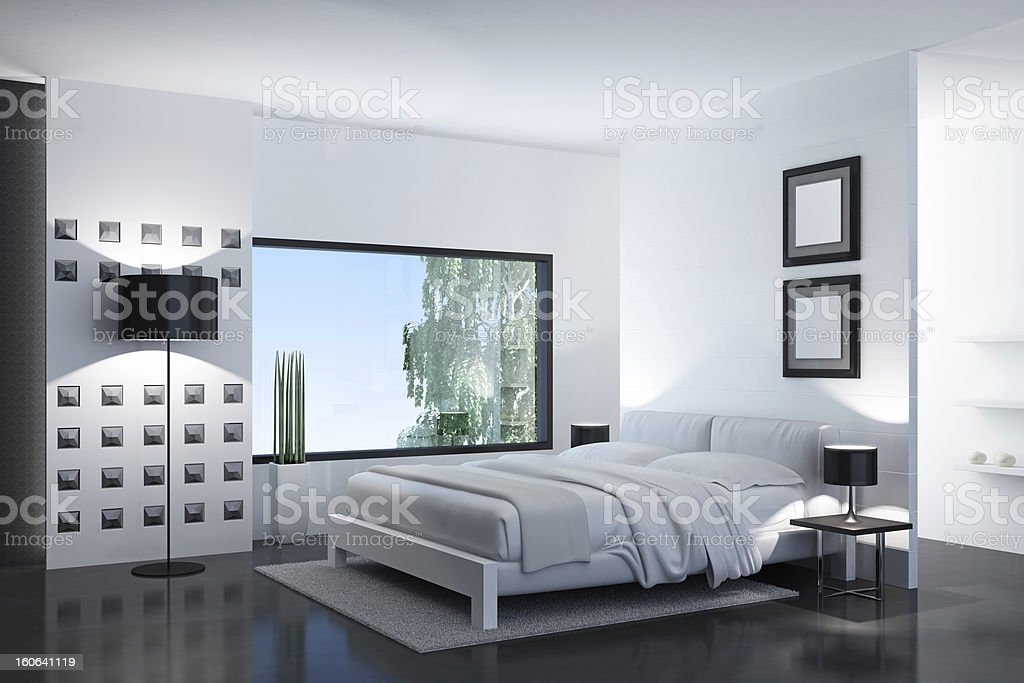 Modern White Bedroom royalty-free stock photo