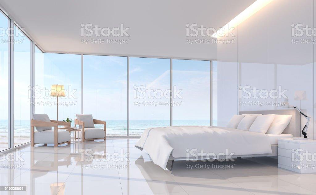 Moderne Weiße Schlafzimmer Mit Sea View 3d Renderingbild Stock ...