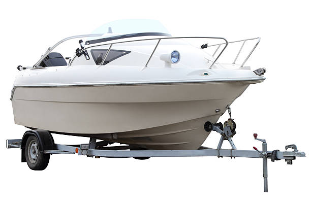 Modern white boat. stock photo