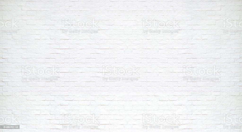 Modern white brick wall texture for background stock photo