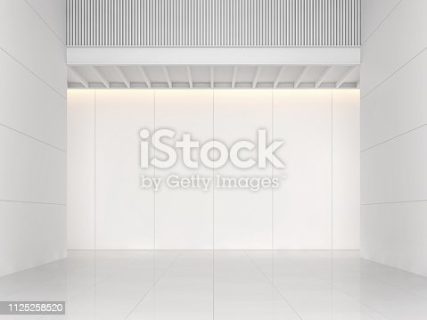 istock Modern white building interior space 3d render 1125258520