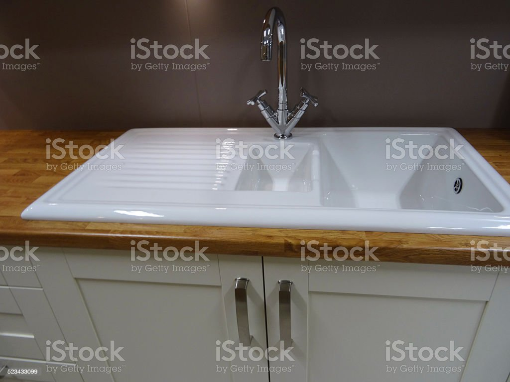 Modern White Ceramic Double Kitchensink Drainer Draining Board ...
