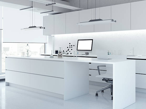 modern white clean laboratory. 3d rendering - laboratory stock photos and pictures