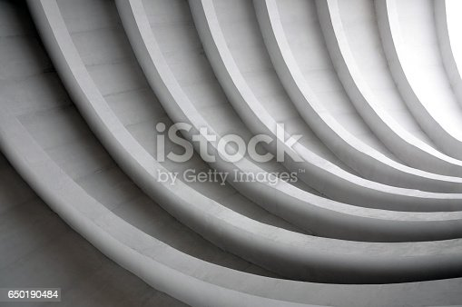 istock Modern white concrete arched composition of city bridge in perspective. 650190484