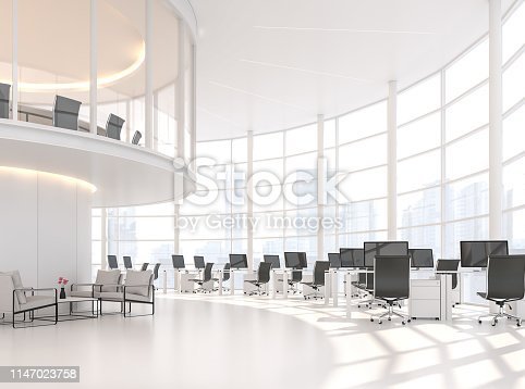 istock Modern white curve office with city view 3d render 1147023758