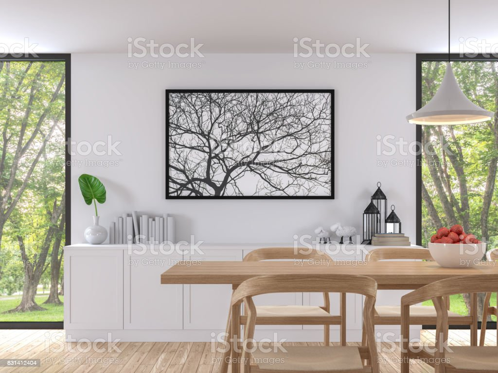 Modern White Dining Room 3d Render Image Stock Photo Download Image Now Istock