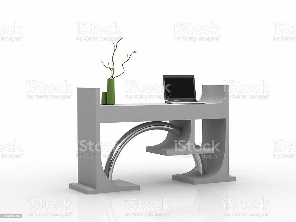 Modern white E office with laptop royaltyfri bildbanksbilder