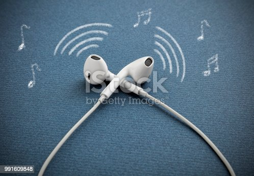 Modern earphones, headphones, wire sound sign and note drawn