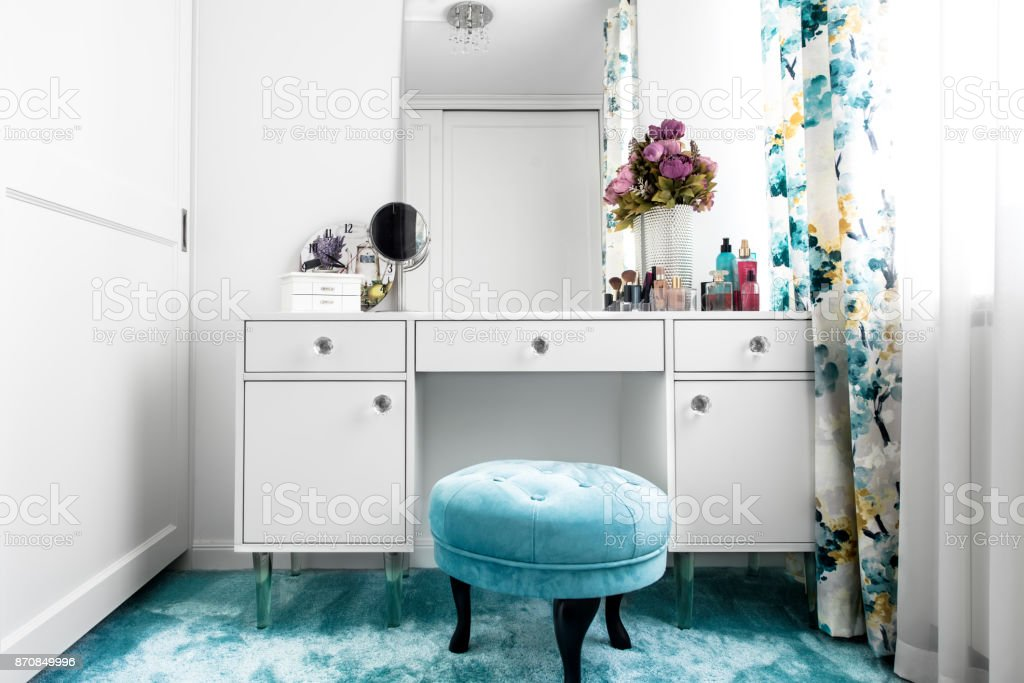 High Quality Modern White, Feminine Dressing Room With Minimalist Vanity Table And  Mirror Royalty Free Stock