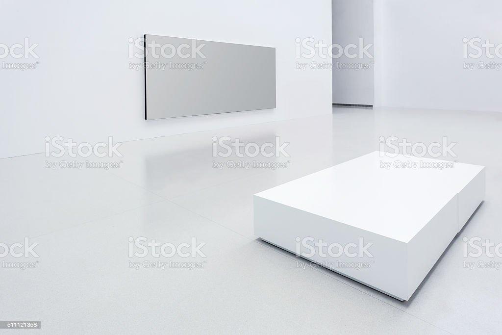 Modern white gallery stock photo